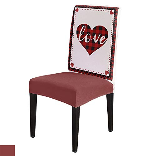 Dining Chair Covers, Stretch Protectors Slipcovers Valentine's Day Love Heart Removable Washable Seat Cover for Home Living/Dining Room Party Hotel Buffalo Plaid Border