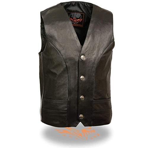Milwaukee Leather ML1368 Men's Classic Black Leather Vest with Buffalo Nickel Snaps - 44