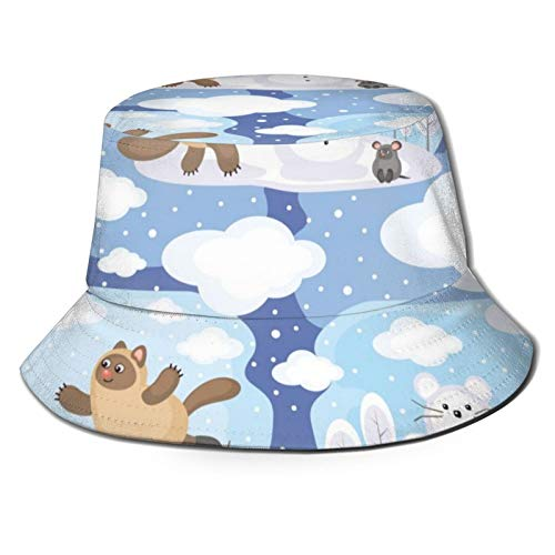 Yaseking Cartoon Style Amusing Cat And Mouse Casual Summer Breathable Washable Reusable Running Bucket Hat,Fisherman Hat,Sun Hat Men
