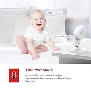 Victure 1080P Babyphone mit Kamera, Baby Monitor 2.4G WLAN Kamera Überwachungskamera Bewegungserkennung mit Nachtsicht 2-Wege Audio Verfügbar Monitor Baby/Ältere/Haustiere kompatibel mit IOS/Android
