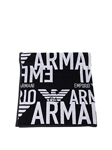 Emporio Armani Swimwear Towel All Over Graphic Logo Toalla por todo el logotipo gráfico, Black, UNI Unisex Adulto