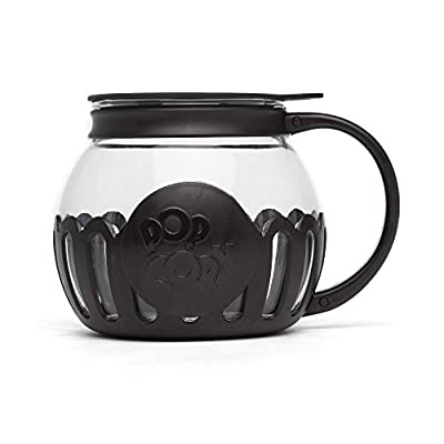 Ecolution Original Microwave Micro-Pop Popcorn Popper, Borosilicate Glass, 3-in-1 Silicone Lid, Dishwasher Safe, BPA Free, 1.5 Quart - Snack Size, Black