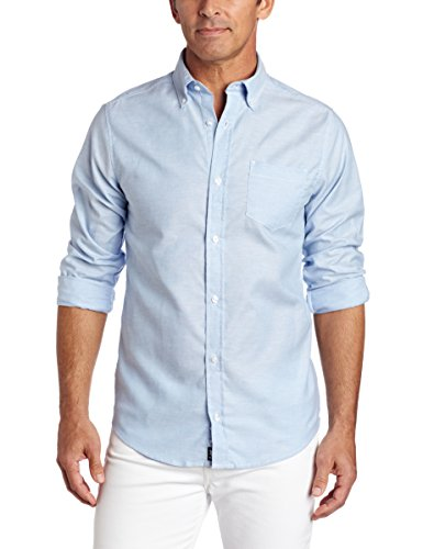 Lee Uniforms Men's Long Sleeve Oxford Shirt, Light Blue, Large