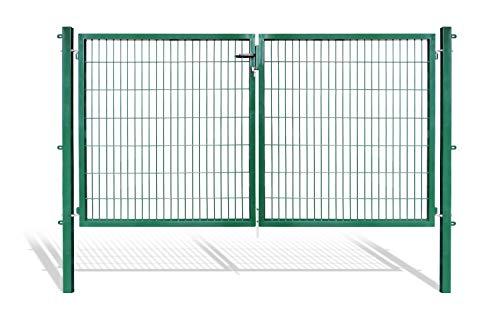Doppelflügeltore für Stabmattenzaun, grün oder anthrazit, verschiedene Höhen wählbar - inklusive Pfosten und passenden Anschlussstücken (Doppeltor H 140 x B 300 cm, grün)