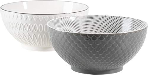 MÄSER 931580 Serie Telde, Schüssel Set aus 2 großen Suppenschüsseln mit hübscher Relief-Oberfläche, auch als Salatschüsseln oder Servierschalen einsetzbar, Durable Porzellan, Weiß / Grau