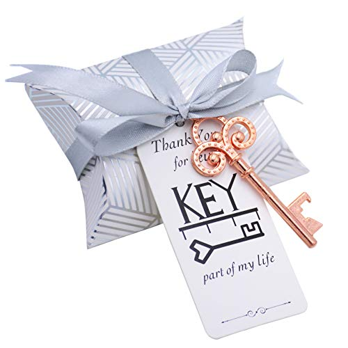 50pcs Vintage Skeleton Key Apribottiglie Bomboniera Souvenir Regalo Set Cuscino Contenitore di Caramelle Carta Regalo Escort Grazie Tag Francese Nastro (Oro Rosa)