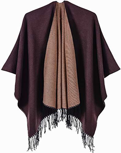 Shmily Girl - vrouwen bedrukte kwast open voorzijde Poncho Cape vest wrap sjaal