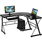 L Shaped Computer Desk,Gaming Desk Home Office Corner Desk Toughened Glass Writing Study PC Modern Executive Table with Keyboard CPU Stand for Kids Student Women Men