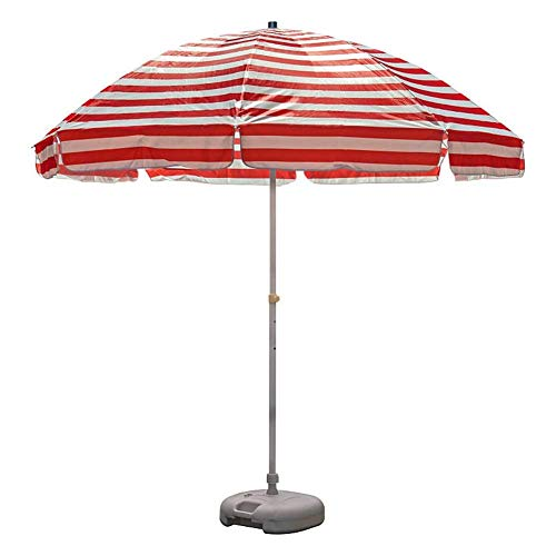 MLTYQ 8.2ft Portable Striped Beach Umbrella, Oxford Cloth Garden Lawn Umbrella with 8 Steel Wire Ribs, Waterproof and Fade Resistant (Color : Red and white stripes)