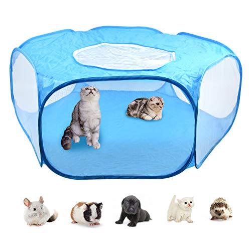 DODUOS Kleintier Laufstall Atmungsaktives Transparentes Kleintierkäfig Zelt mit oberer Abdeckung Freilaufgehege Tierlaufstall Faltbares Hofzaun für Meerschweinchen, Kaninchen, Hamster, Igel (Blau)
