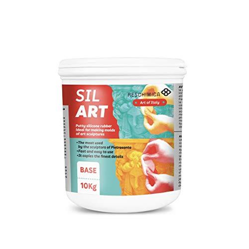 RESCHIMICA SIL ART (10kg) - Gomma siliconica in pasta per applicazioni verticali e grandi dimensioni (catalizza in 5h). Ideale per scultori e modellisti