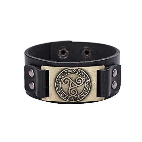 AMOZ Viking Celtic Triskelion - Triple Spiral Triskele Swirl Nordic Amulet Bracelet Medieval Futhark Jewelry Antique,Antique Bronze