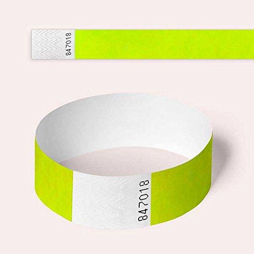 Tyvek Braccialetti di sicurezza, di carta, per eventi, confezione da 100 19mm Neon Yellow
