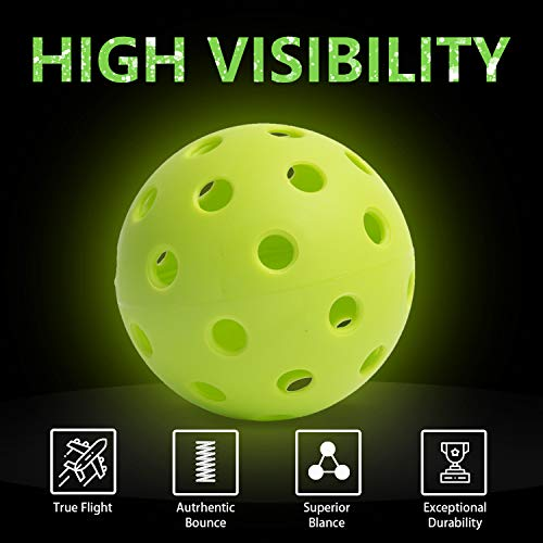 Papepipo Pickleball Balls,Pickleball Ball,Pack of 9 Bright Pickleballs,Outdoor Indoor Pickleballs,Premium Specifically Designed and Optimized for Pickleball with Mesh Bag. (9PACK, Outdoor-All Green)