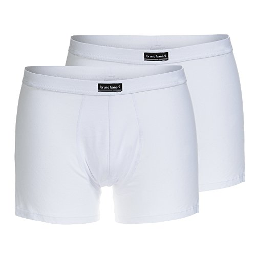 Bruno banani Short 2Pack Cotton Simply Boxeur ajusté, Blanc (1), L (Lot de 2) Homme