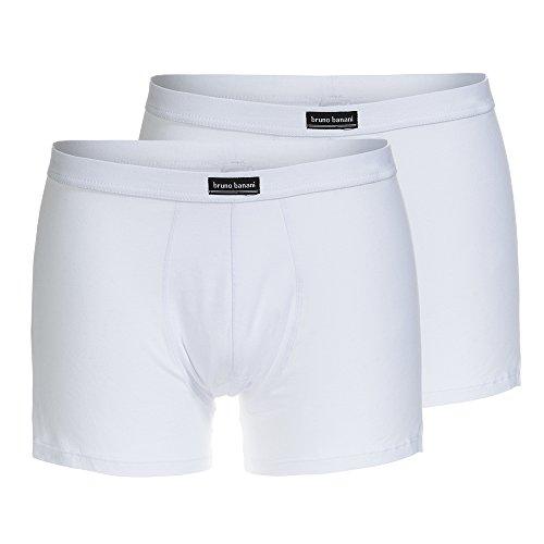 Bruno Banani Herren Short Cotton Simply, 2er Pack, Einfarbig, Gr. Small, Weiß (weiß 1)