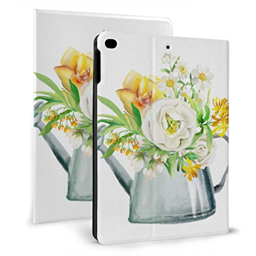 JIUCHUAN Protect Case Ipad Spring Flowers In Watering Can Kids Shockproof Ipad Case For Ipad Mini 4/mini 5/2018 6th/2017 5th/air/air 2 With Auto Wake/sleep Magnetic Cover Ipad