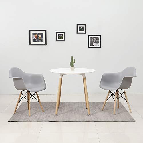 BenyLed Mesa de Comedor Redonda y 2 Sillones, Mesa de Cocina Moderna y Sillas de Comedor de Plástico con Reposabrazos; Juego de Comedor para Hogar, Oficina, Cocina, Balcón (ML-YZ-ARM-GY)