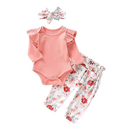Neugeborenes Baby Mädchen Rosa Outfits Set Kleidung Set Stricken Fliegender Ärmel Romper Overalls Blumenhose Rock Süßer Kopfschmuck (B, 100)