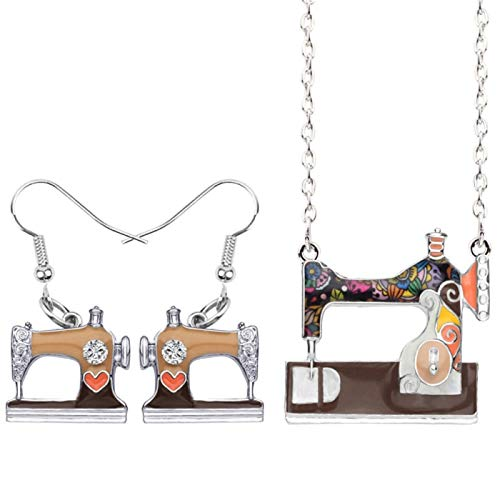 YGDH Aleación de la máquina de Coser los Pendientes Pendientes de la Manera del Collar Juego de Herramientas for joyería for Las Mujeres Regalo de la Muchacha Bijoux Brown