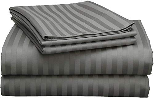 """800 Thread Count 4pc Luxury Sheet Set, 100% Egyptian Cotton, Breathable, Soft & Silky Sateen Weave, Fits Mattress Upto 21"""" Deep Pocket, Best Bed Sheets Set - (Queen Size, Dark Grey Stripe)"""