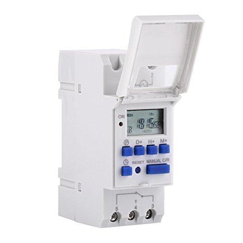 Temporizador digital, relé electrónico programable semanal con pantalla LCD, interruptor de tiempo de alta precisión con temporizador de 16 encendido / 16 apagado para electrodomésticos (12 V)