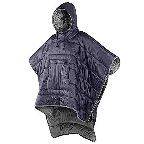 Poncho de Invierno Abrigo Cálido Edredón pequeño Manta Saco de Dormir Ultraligero Capa para Acampar Escalada al Aire Libre Viaje Portátil Ultraligero Cálido