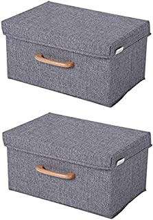 MU Grande boîte de rangement pour vêtements, jouets, boîte de rangement avec couvercle, boîte de rangement pliable, gris, ...