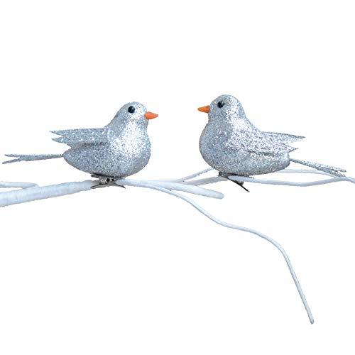 Zilveren Glitter 10 cm 2 Pack Clip op Vogels Kerstboom Decoratie