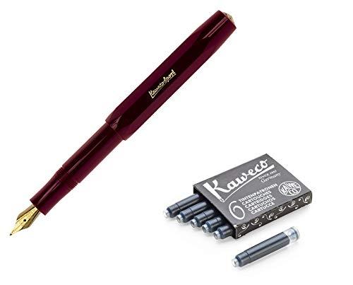 Kaweco Classic Sport Medium Schreibfeder + Set mit 6 Tintenpatronen Schwarz (Burgund)