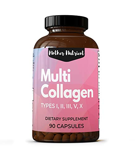 Multi Collagen Peptides, Hydrolyzed Collagen Pills. 90 Capsules with 1000 Milligrams Collagen Protein Complex (Types I, II, III, V & X). Supports Healthy Bone, Joints, Healthy Hair & Anti Aging Skin