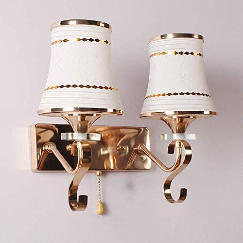 FEE-ZC Lámparas de Pared para Interiores Modernas E27 Lámparas de Pared de Doble Cabezal con Accesorio de Interruptor Material de Acero Inoxidable Pintura Color Pantalla de vidr
