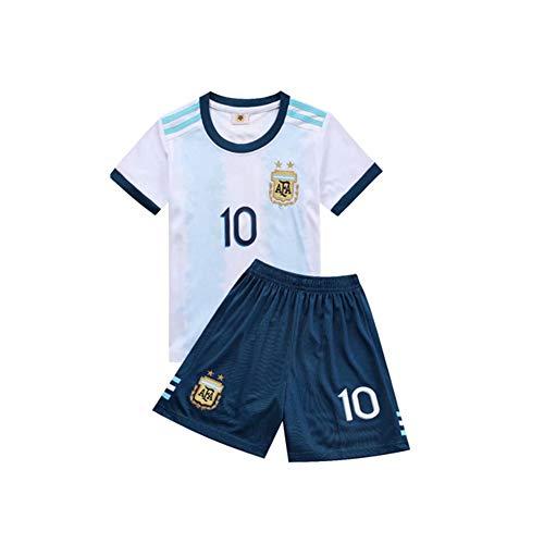 PAOFU-Argentinische Fußballnationalmannschaft Lionel Messi # 10 Fußball Trikot Kinder Jugend Fußball Jersey,Weiß,24