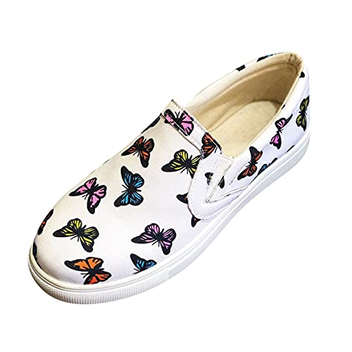 Bomden Ladies Flat Shoes  Butterfly Print Shoes  Set Foot One-Step Shoes  Casual Single Shoes Womens Flat Butterfly Pattern Casual Single Shoes Fashion Slip On Lazy Shoes