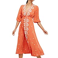 R.Vivimos Womens Boho Floral Embroidered Casual Drawstring Tie Cotton Long Dresses