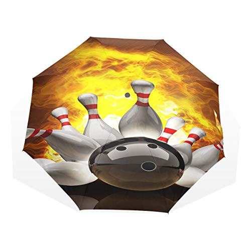 Folding Travel Umbrella Abstract Bowling Ball Crashing Into The Pins On Fi Windproof Boys Umbrella Compact Rain & Wind Resistant Compact and Lightweight for Business and Travels