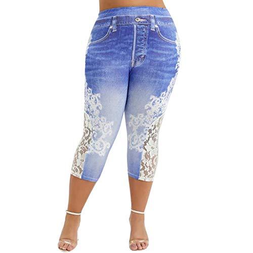 Yowablo Leggings Frauen Plus Size Lace Printing Splice Mode elastische Taille Freizeithosen (5XL,3Dunkelblau)
