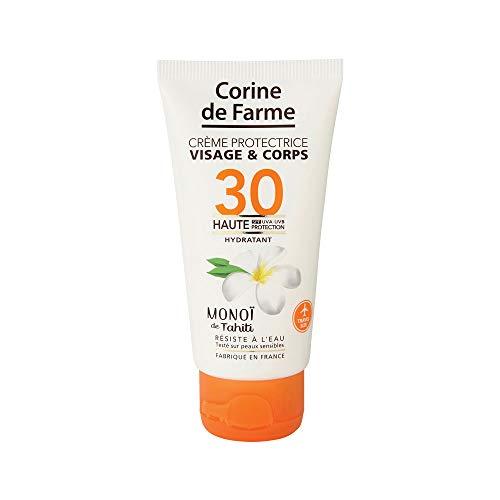 Corine de Farme   Crème Protectrice SPF30 Haute Protection UVA-UVB   Soin Solaire Visage et Corps Sans Paraben   Résistant à l'eau   Monoï de Tahiti   Format Pocket 50 ml