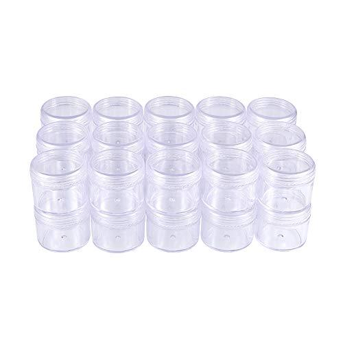 BENECREAT 30 Pack (20ml) Recipiente Vacío de Almacenamiento Bote de Plástico Transparente con Tapas de Rosca para Cuentas,Brillo,Maquillaje,Cosmeticos y Crema