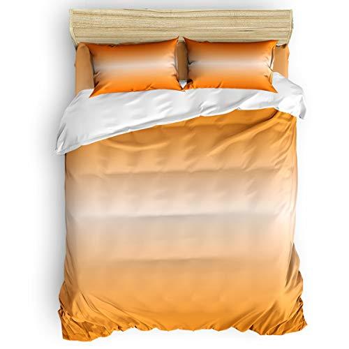 Amaze-Home Orange Gradient 4 Pieces Bedding Sets California King Flannel Duvet Cover Sheet Bedspread with 2 Decorative Pillow Shams for Bedroom Dorm Hotel Color