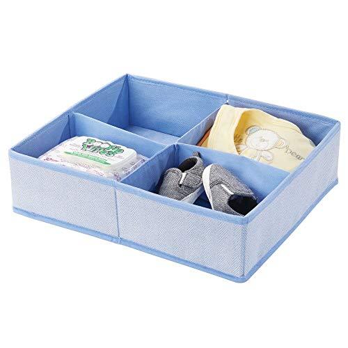 mDesign Organizer per fasciatoio – Grande scatola portaoggetti in tessuto per pannolini, salviette umidificate ecc. – Ideale contenitore giocattoli con 4 scomparti – blu