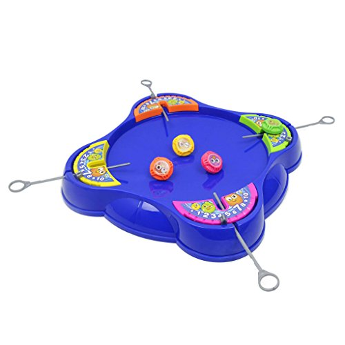 HomeDecTime Clásico Super Speedy Spinning Top 4 Jugadores Que Luchan Gyro Game Launcher Board Set Kid Preescolar Play Toy