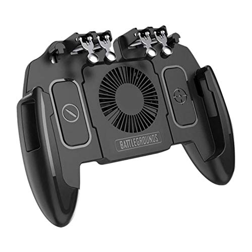 SCYDAO Mobile Gaming Controller Mit Lufter Und Halterung 6 Finger Fur PUBGCall of DutyFotnite Gaming Grip Ausloser Fur 47 65 Ios Android PhoneCooling Model