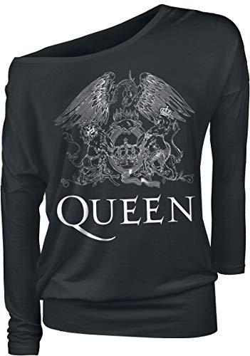 Queen Crest Vintage Camisa Manga Larga Negro XXL