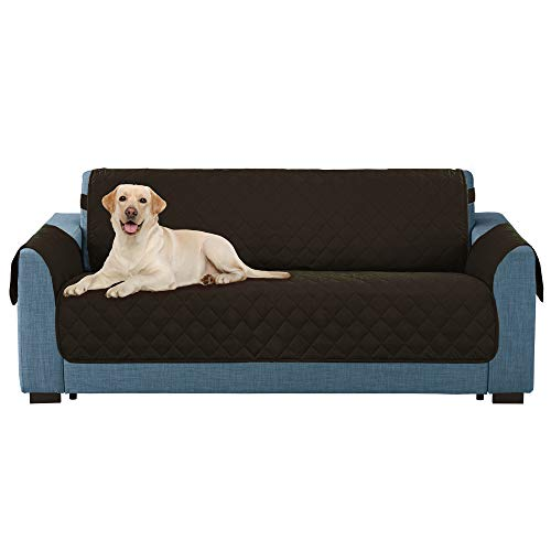 E-Living Store Z01675 Reversible Furniture Protector with 2 Inch Elastic Strap, Machine Washable, Perfect for Pet and Kids, Seat Width Up to 78', Oversized Sofa, Chocolate