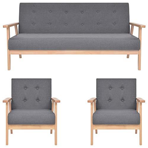 Tidyard Conjuntos de Muebles de jardín Sofás para Patio Juego de sofás de 3 Piezas Tela Gris Oscuro