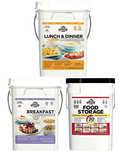Bundle Augason Farms, Lunch and Dinner 4-Gallon Pail, 30-Day 1-Person Emergency Food Supply, Breakfast Emergency Food Supply 11 lbs 1.8 oz 4 Gallon Pail