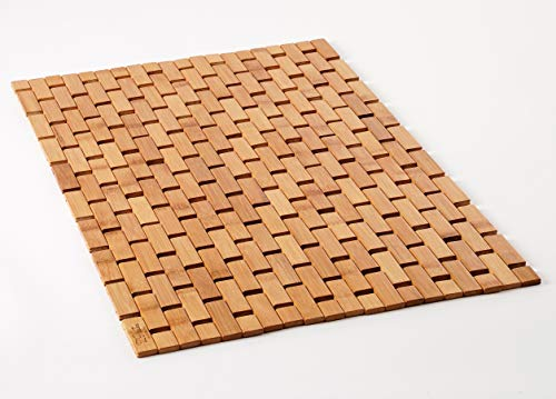 Natural Bamboo Wood Bath Mat - Bathroom and Kitchen Rugs, Bathmat Accessories for Bathtub, Spa, Sauna Floor and Shower Door Step (Lattice, Standard 16x24 Inch)