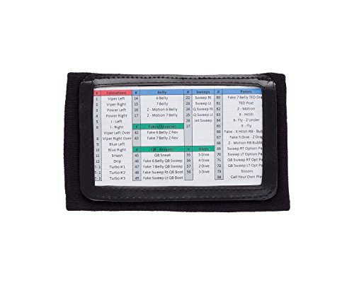 WristCoaches QB Wrist Coach - Playbook Wristband (Youth - Black) - Heavy Duty Football Wristbands for Boys with Three Playsheet Compartments - Perfect for Flag Football and Tackle Football