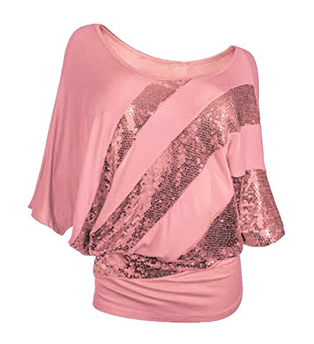 Poem&Future Women's Sparkly Sequin Blouse Scoopneck Batwing Sleeve Glittery Tank Tops Bling Costume T-Shirts (L, Pink Color)